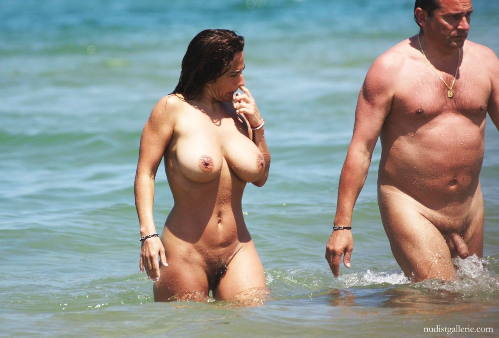 Busty wife topless beach think