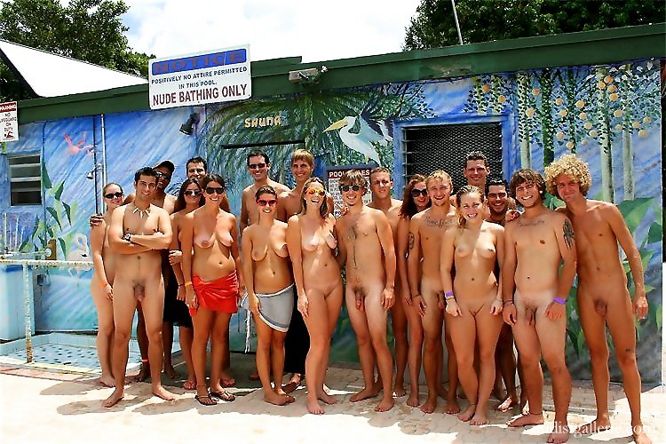 Necessary words... Group of nudist photo with