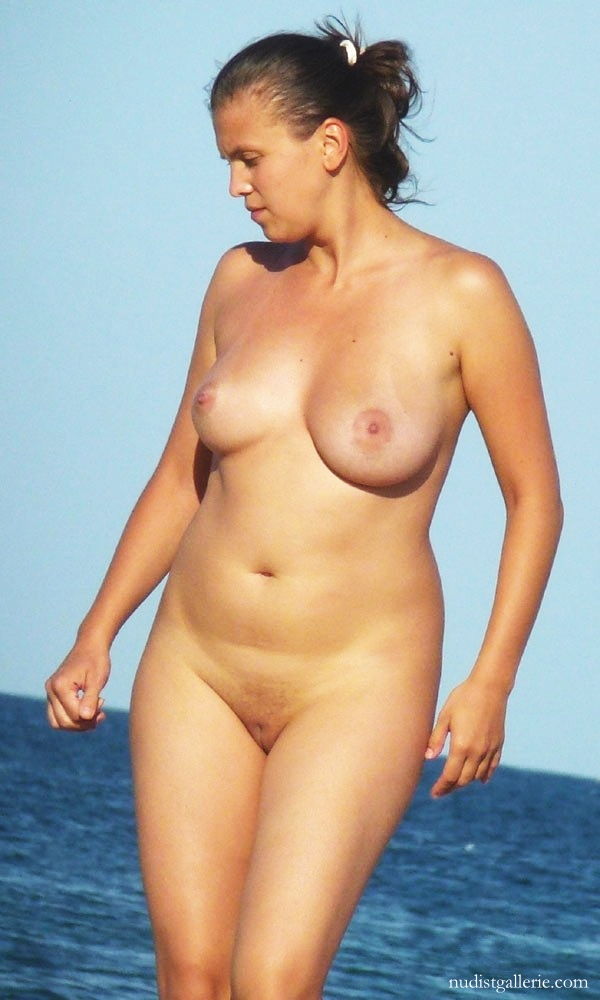 Nudist at the beach and shaved for
