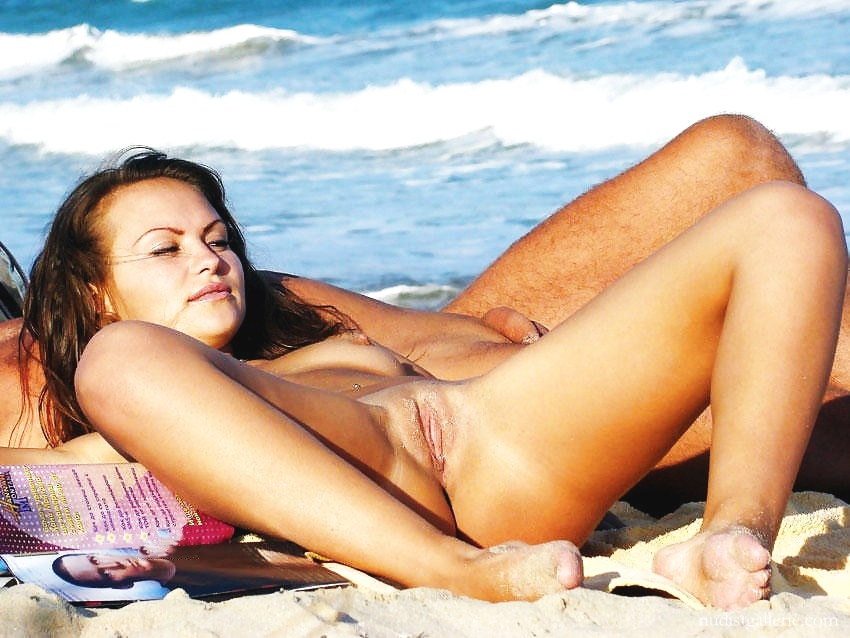 Nude beach legs spread wide holding my tits 10