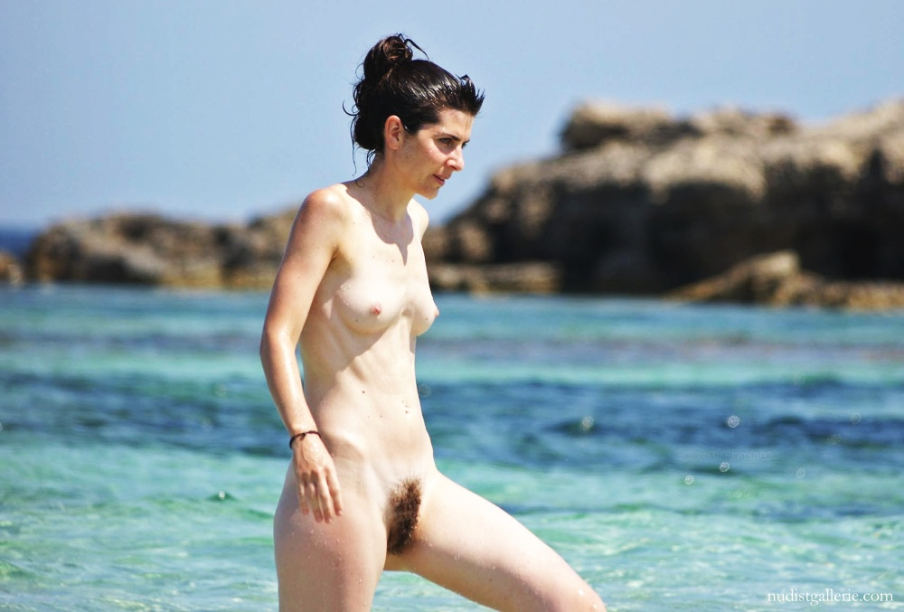 naked Hairy beach wife on
